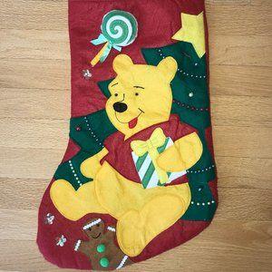 Vtg Disney Winnie the Pooh Felt Christmas Stocking